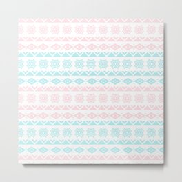 Hand painted blush pink teal modern tribal pattern Metal Print