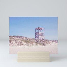 Lifeguard Chair on Blue Mini Art Print