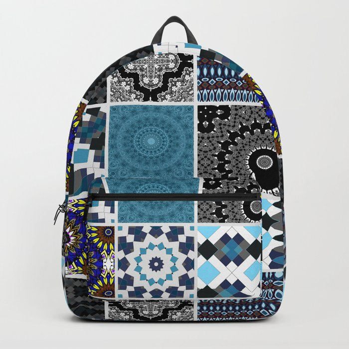 Patchwork . Blue , black and grey . Backpack