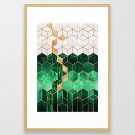 Emerald Cubes And Hexagons Framed Art Print
