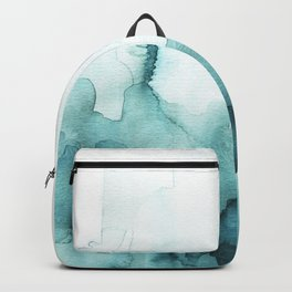 Soft teal abstract watercolor Backpack