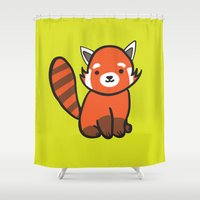 lime green Shower Curtains featuring Red panda lime green by Chloe Meister