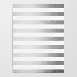 Simply Striped Moonlight Silver Poster