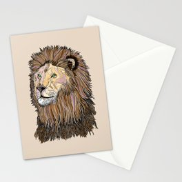 Abstract lion line drawing / coloured Stationery Cards