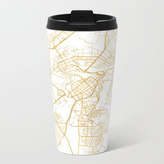 YEREVAN ARMENIA CITY STREET MAP ART Metal Travel Mug