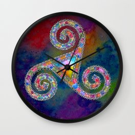 Trisquel with Watercolor Background Wall Clock