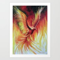 phoenix Art Prints featuring phoenix by OLHADARCHUK