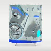 taxi driver Shower Curtains featuring TAXI by  ECOLARTE