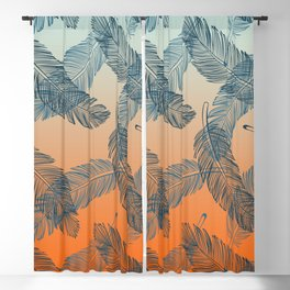 Blue Feathers Pattern Blackout Curtain
