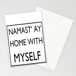 Namast'ay Home with Myself Funny Yoga Life Motto Namaste Stationery Cards