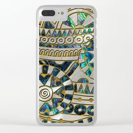 Tribal Ethnic  Pattern Gold on Abalone Shell and Pearl Clear iPhone Case