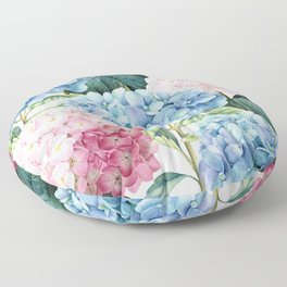 Pink Blue Hydrangea Floor Pillow