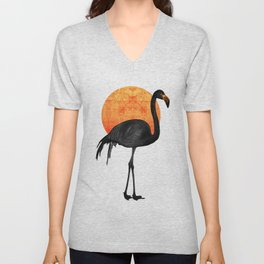 Black Flamingo  - Tropical Wall Decor - Flamingo Posters - Exotic Birds - Black, Modern, Minimal Unisex V-Neck