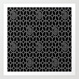 PAISLEY DIAMOND - BLACK/GREY Art Print