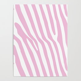 Baby Pink Zebra Stripes Poster