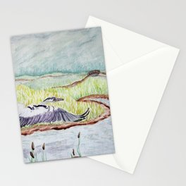 Flight of the Great Blue Heron, Trojan Oregon painting Stationery Cards
