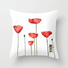 Mouse and poppies - Watercolor illustration Poppy Flower Throw Pillow