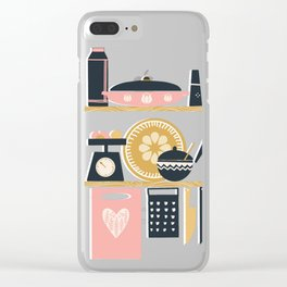 Colorful Cooking In A Mid Century Scandinavian Kitchen Clear iPhone Case