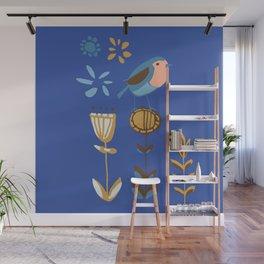 hygge blue bird Wall Mural