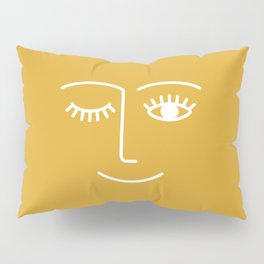 wink / mustard Pillow Sham