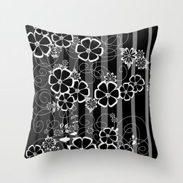 Abstract white and black flowers with background Throw Pillow