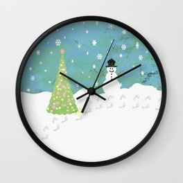 Snowman on Christmas Day Wall Clock