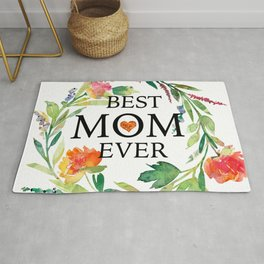Best mom ever text-colorful wreath Rug