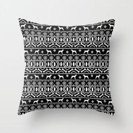 German Shorthair Pointer fair isle christmas holidays dog breed pattern black and white Throw Pillow
