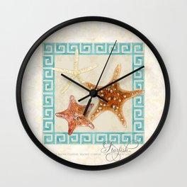 White Finger, Knobby, Orange Cushion Starfish Modern Ocean Shell Beach Striped Wall Clock