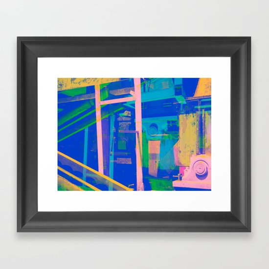 Industrial Abstract Blue 2 Framed Art Print