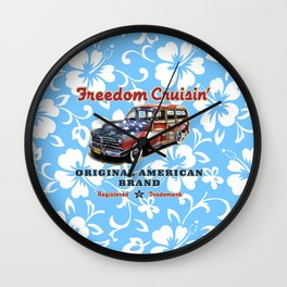 Freedom Crusin' Hawaiian Woody Design - blue colorway Wall Clock