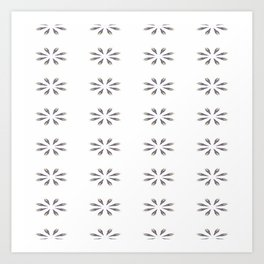 Simple White Grey Flowers Art Print
