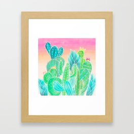 Modern tropical exotic summer cactus illustration pink ombre watercolor Framed Art Print