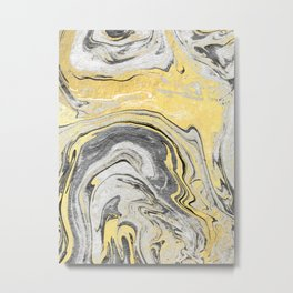 Reiko - gold grey black and white minimal marble abstract ink japanese modern monoprint art  Metal Print