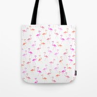 flamingos Tote Bags featuring FLAMINGoS by Monika Strigel