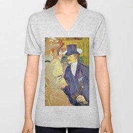 Henri de Toulouse-Lautrec - The Englishman at the Moulin Ruge - Digital Remastered Edition Unisex V-Neck