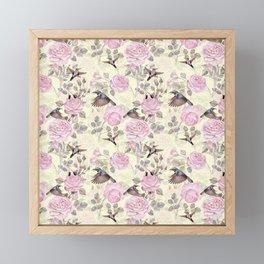 Vintage & Shabby Chic - Lush pastel roses and hummingbird pattern Framed Mini Art Print