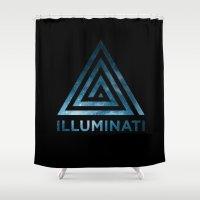 illuminati Shower Curtains featuring Illuminati in Space by Singh Design