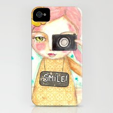 Smile ! girl with photo camera Slim Case iPhone (4, 4s)