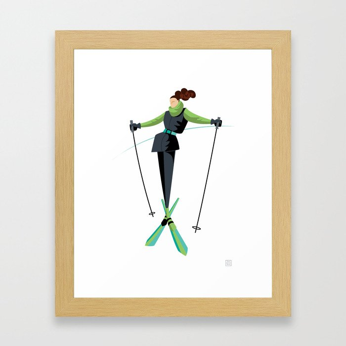 Ski Girl Posing Framed Art Print