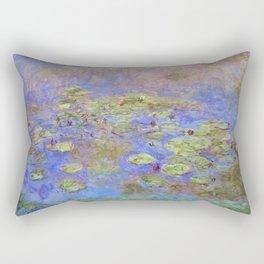 Water Lillies - Claude Monet (indigo blue) Rectangular Pillow