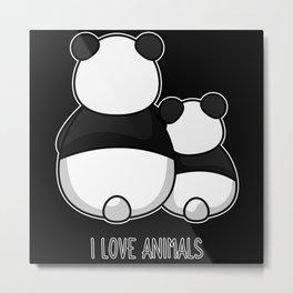 Animal lover I love animals welfare vegan Panda Metal Print
