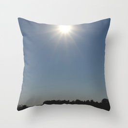 Silhouettes of two people on a rubber boat in a sunny reflection Throw Pillow