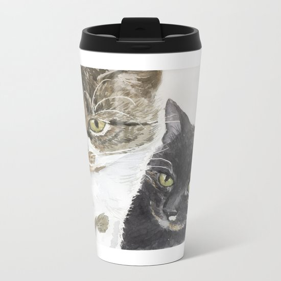 Two cats - tabby and tortie Metal Travel Mug