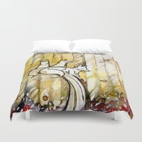 three of the possessed Duvet Covers featuring Three by Rubis Firenos