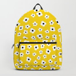 White Yellow Spring Flower Pattern Backpack