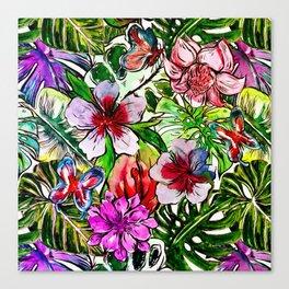 Tropical Flower Hibiscus Garden Canvas Print