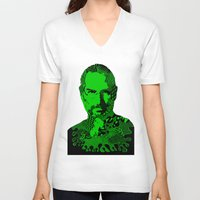 steve jobs V-neck T-shirts featuring Steve Jobs green by Rebecca Bear