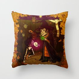 Witch and Wizard of Halloween Throw Pillow