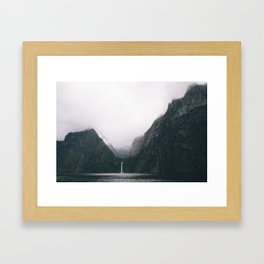 Milford Sound waterfall Framed Art Print